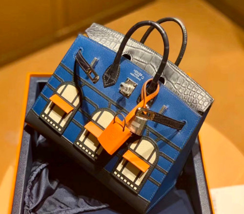 Hermes Limited Edition Birkin 20 Sellier Faubourg Blue Multicolor Madame, Crocodile, Epsom, Sombrero & Swift Palladium Hardware - 2019