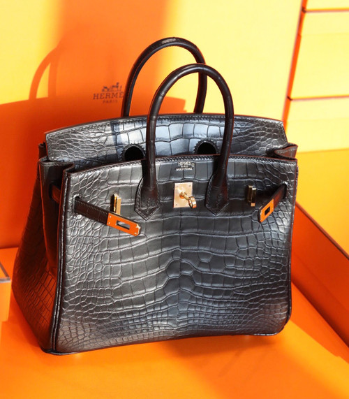 HERMÈS Black Alligator Birkin 40 Palladium Hardware