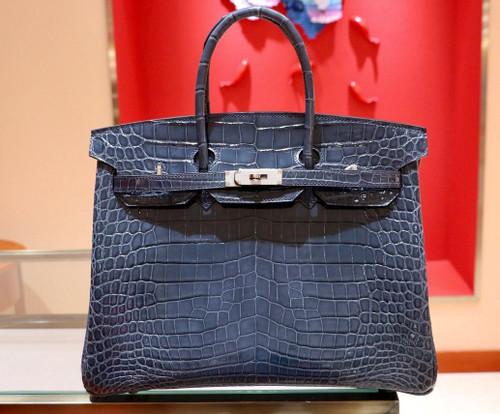 Hermes Bleu Thalassa Birkin 35 in Shiny Porosus Crocodile with Palladium hardware