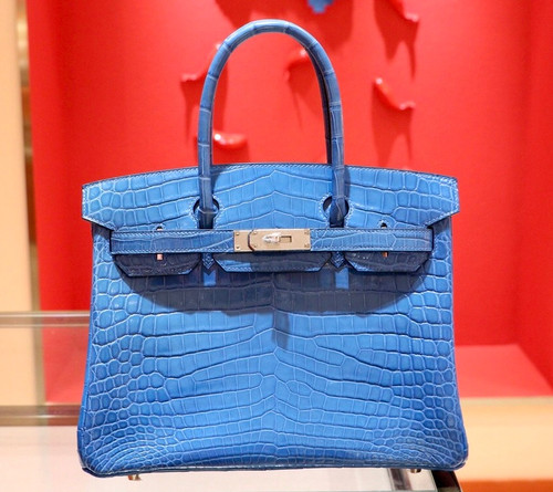 Hermes 7W Bleu Izmir  Birkin 30 in Niloticus Crocodile with Palladium hardware