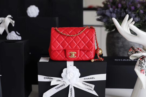 Chanel Red Flap Bag With Charm AS1787 SS2020
