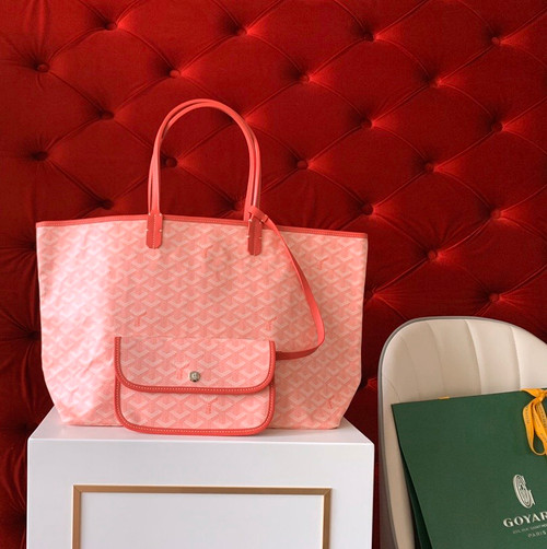 "Goyard Limited Edition ""LOVE""   St Louis GM Tote Pink Chevron Bag"