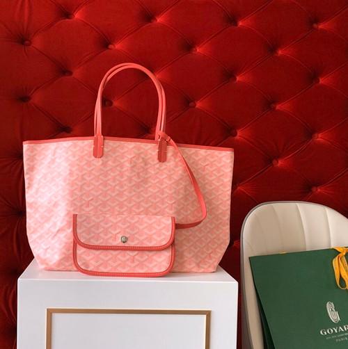"Goyard Limited Edition ""LOVE""   St Louis GM Tote Pink Chevron Bag"