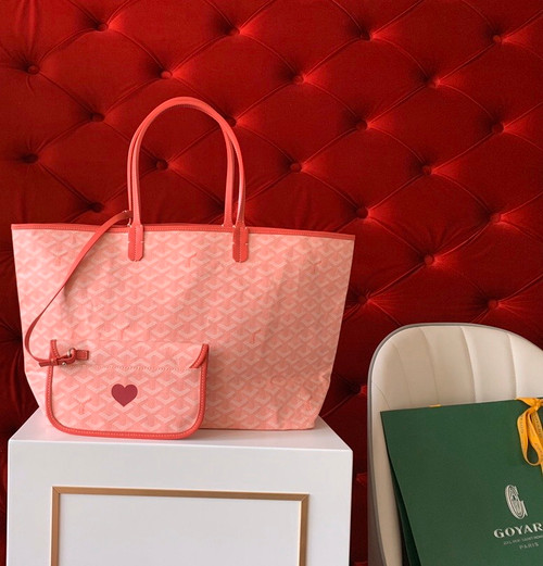 "Goyard Limited Edition ""LOVE""   St Louis PM Tote Pink Chevron Bag"