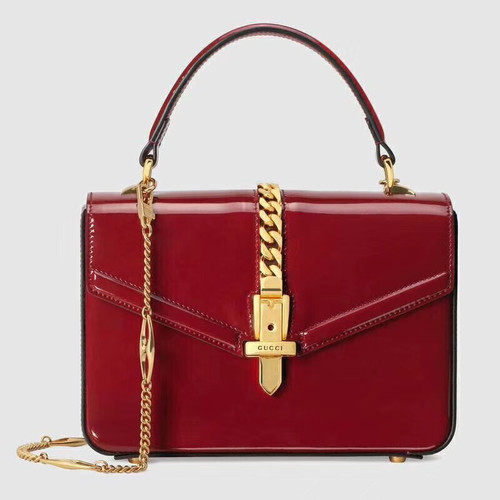 Gucci Sylvie 1969 patent leather mini top handle bag Red