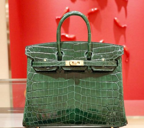 Hermes VERT FORET Birkin Bag 25cm Niloticus Crocodile Gold Hardware
