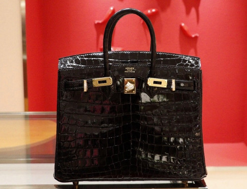 Hermes BLACK Birkin Bag 25cm Shinning Niloticus Crocodile Gold Hardware