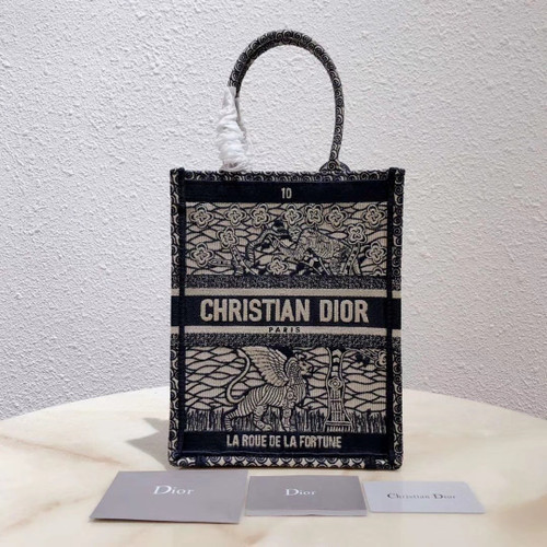 Christian Dior MULTICOLOR TAROT SOLEIL EMBROIDERED VERTICAL DIOR BOOK TOTE 10B