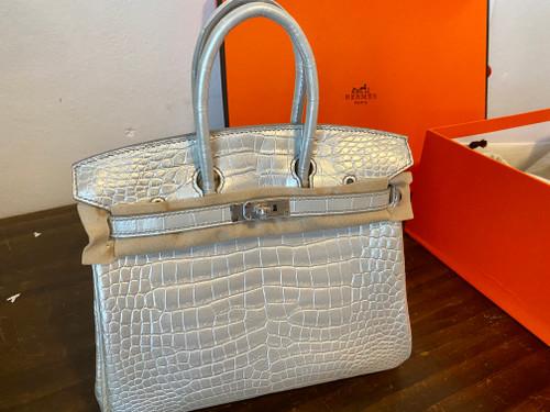 Hermes Rare Silver Birkin Bag 25cm Niloticus Crocodile Palladium Hardware