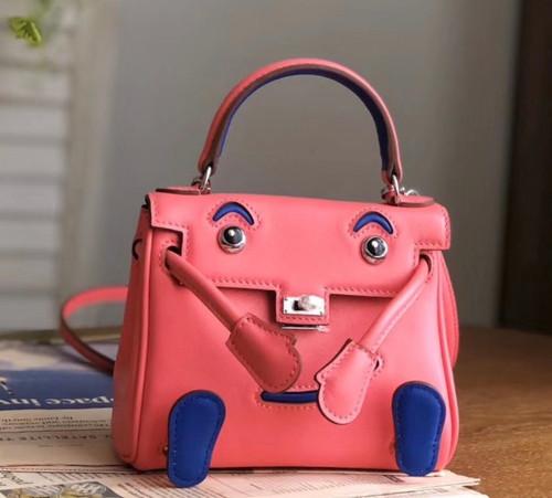 Hermes Quelle Idole Kelly Doll Bag Pink Swift Palladium Hardware