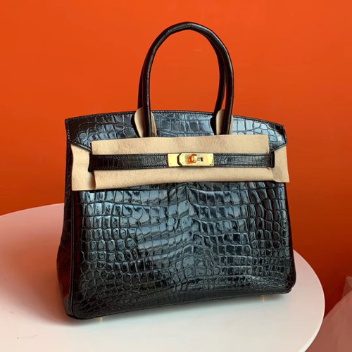 HERMES BIRKIN 30 BAG BLACK ALLIGATOR GOLD HARDWARE