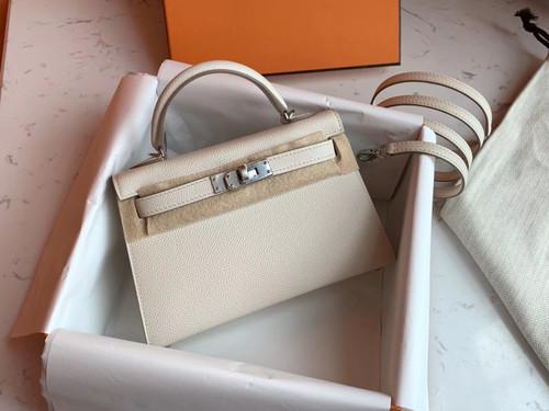 Hermès Craie Kelly Mini II Epsom Palladium Hardware