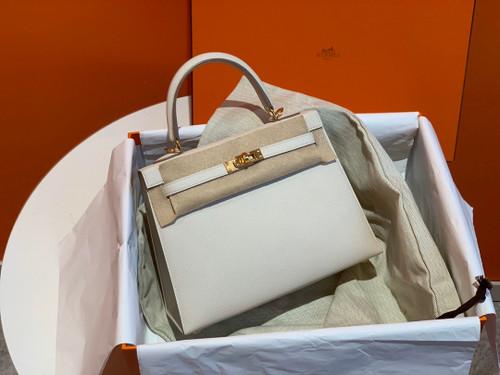 Hermès Craie Kelly 25  Epsom Gold Hardware