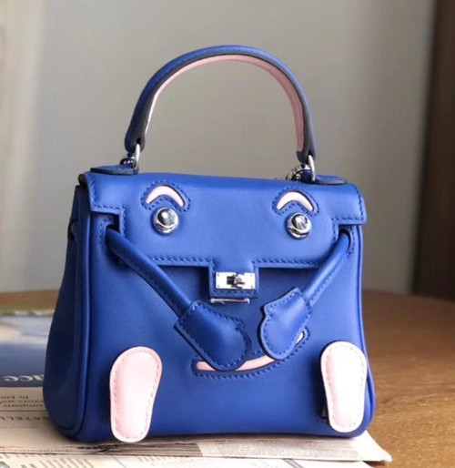 Hermes Quelle Idole Kelly Doll Bag Blue/Pink Swift Palladium Hardware