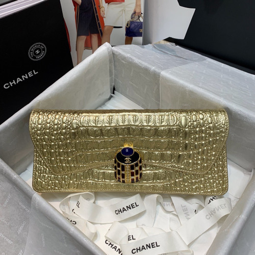 CHANEL Gold Scarab Evening Bag Clutch Classic Flap 2019