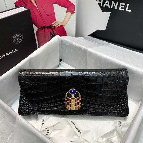 CHANEL Black Scarab Evening Bag Clutch Classic Flap 2019