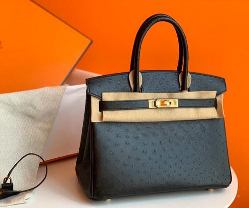 Hermes Black Birkin 30cm KK Ostrich Leather Gold Hardware