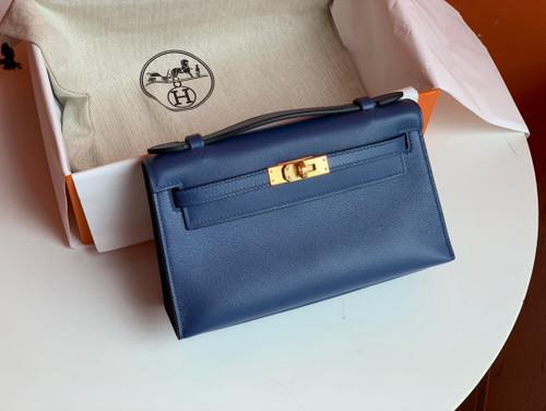 Hermès  7E BLUE BRIGHTON Kelly Mini Swift Gold Hardware