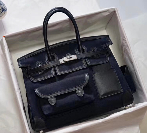 Hermes Limited Edition Cargo Birkin 35 cm Black Swift and canvas