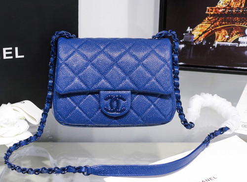 Chanel Flap Bag With Lacquered Metal Dark Blue