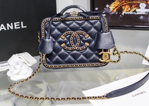 Chanel Small Vanity Case Navy Blue