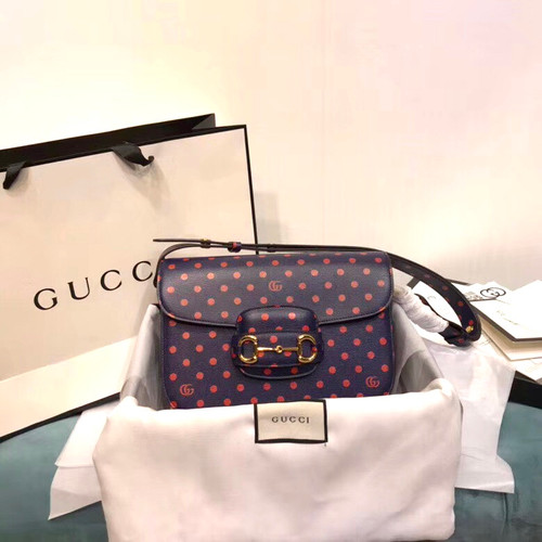Gucci 1955 Horsebit shoulder bag with Blue leather  polka dot and Double G print