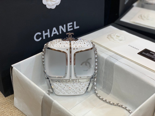 Chanel Limited Edition White Crystal & Lucite Ski Gondola Minaudiere