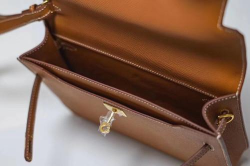 Hermes Kelly Depeches 25 Pochette Gold Epsom Gold Hardware