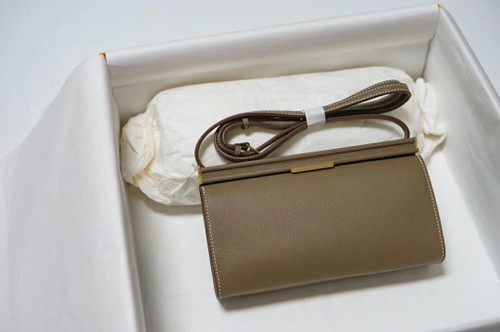 Hermes Clic-H 21 bag Etoupe Evercolor calfskin  with Gold hardwares