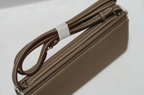 Hermes Clic-H 21 bag Etoupe Evercolor calfskin  with Palladium hardwares