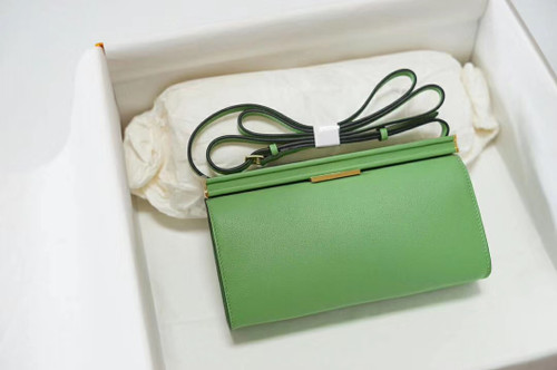 Hermes Clic-H 21 bag 3I Vert Criquet  Evercolor calfskin  with Gold hardwares