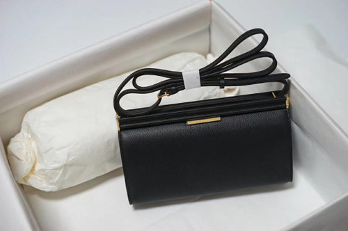 Hermes Clic-H 21 bag Black Evercolor calfskin  with Gold hardwares