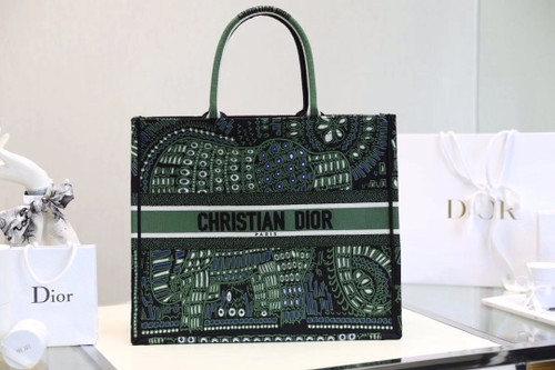Christian Dior DIOR BOOK TOTE BAG IN GREEN EMBROIDERED CANVAS