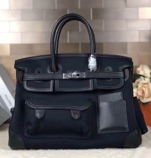 Hermes Limited Edition Cargo Birkin 35 cm Black Swift and Blue Thalassa canvas