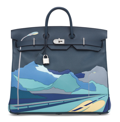 Hermes LIMITED EDITION  ''ENDLESS ROAD - NIGHT'' HAC BIRKIN 50  TOGO, SWIFT & CLÉMENCE LEATHER WITH PALLADIUM HARDWARE