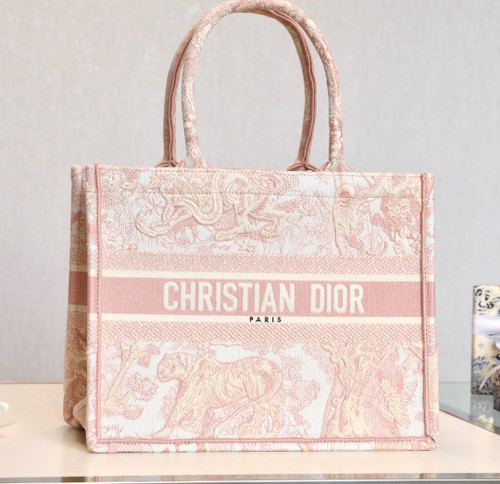 Christian Dior SMALL DIOR BOOK TOTE Pink Multicolor Toile De Jouy Embroidery