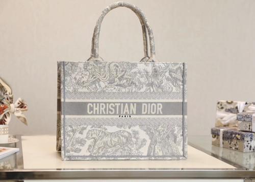 Christian Dior SMALL DIOR BOOK TOTE Gray Multicolor Toile De Jouy Embroidery