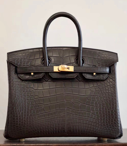 Hermes Birkin 25cm Black Matte Alligator  with Gold hardware