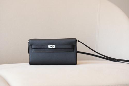 Hermes Kelly Wallet to Go Black EPSOM PHW