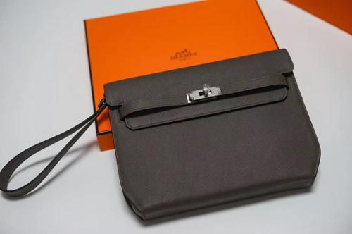 Hermes Kelly Depeches 25 Pochette Black Epsom Palladium Hardware