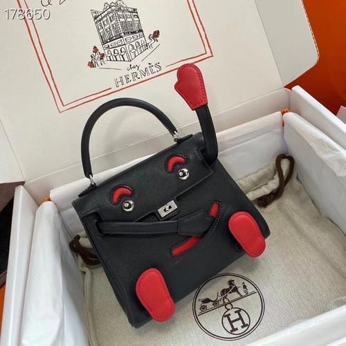 Hermes Quelle Idole Kelly Doll Bag Black Swift Palladium  Hardware
