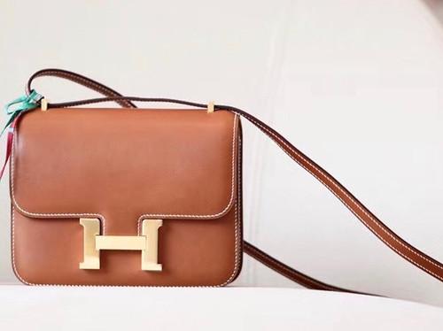 Hermes Constance Bag 18 Fauve Barenia Leather Gold Hardware