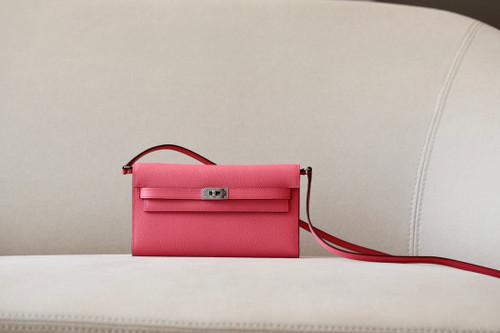 Hermes Kelly Wallet to Go U5 Rose Lipstick EPSOM PHW
