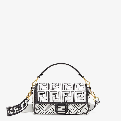 Fendi BAGUETTE White nappa leather FF print bag