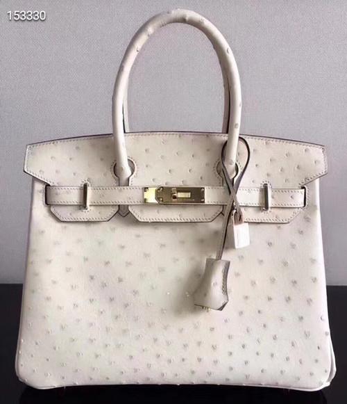 Hermes Craie Birkin Bag 30cm KK Ostrich Leather Gold Hardware