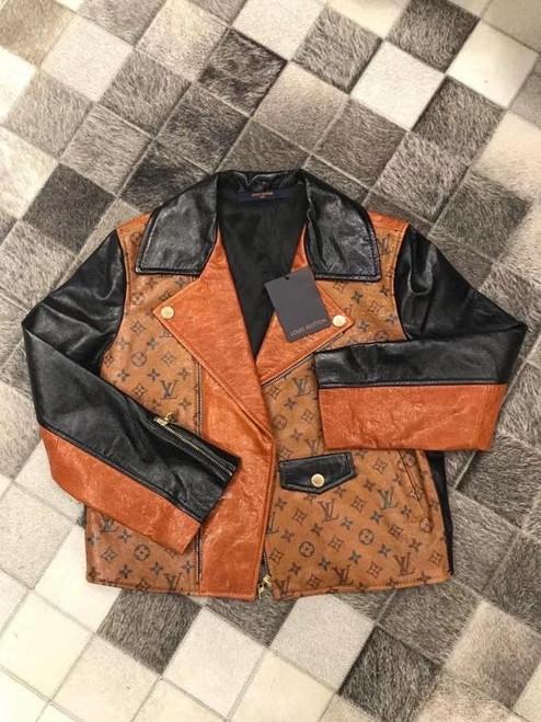 Louis Vuitton 1A82K0 TATTOO MONOGRAM CROPPED LEATHER BIKER JACKET