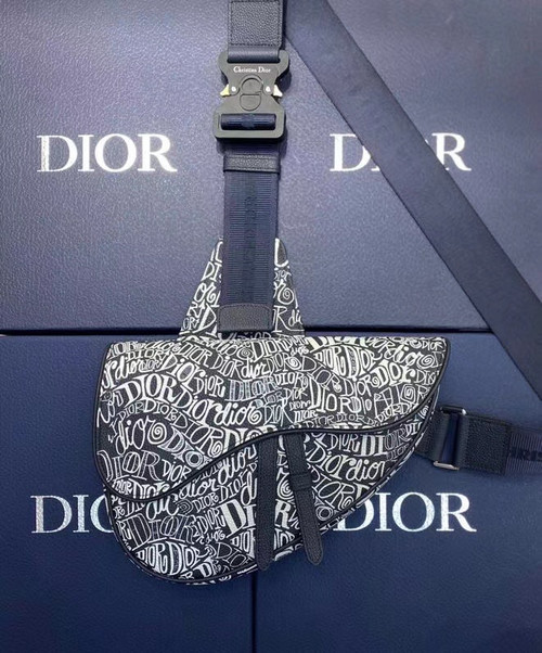 Christian Dior SADDLE BAG Navy Blue Grained Calfskin with DIOR AND SHAWN Motif