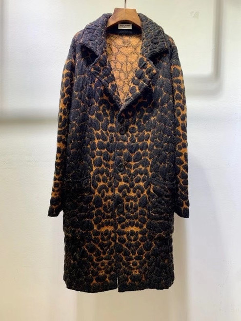 Saint Laurent TAILORED COAT IN LEOPARD-PRINT WOOL AND MOHAIR JACQUARD