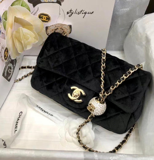 Chanel  Velvet Flap Bag with Diamond charm A/W 2020