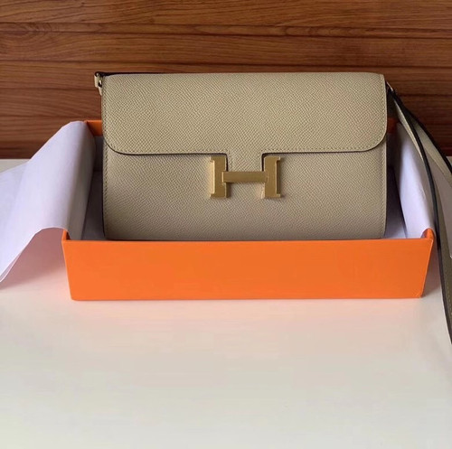 Hermes  Gris Tourterelle Constance Long To Go wallet Epsom Leather Gold Hardware